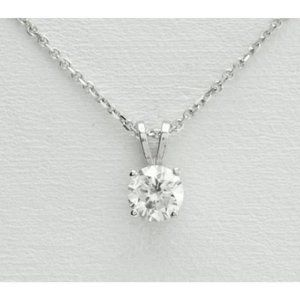 Jewelry - Solitaire Round Diamond Necklace Pendant 0.95 Ct W